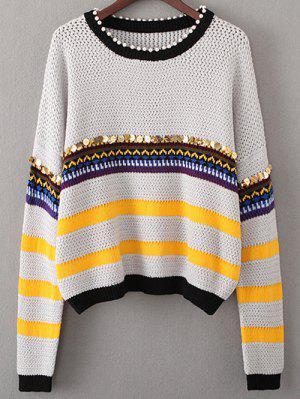 Sequined Beading Sweater - Light Gray