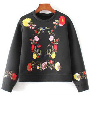 Bordado Floral De La Camiseta De Boxy - Negro L