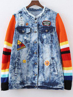 Denim Splicing Ripped Patched Jacket - Blue M