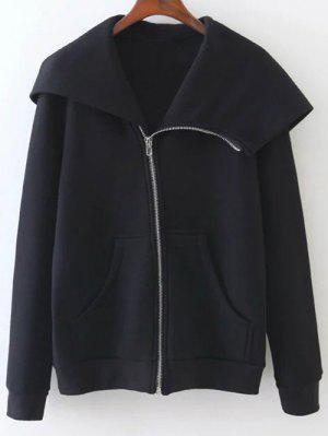 Pockets Zip Up Hoodie - Black M