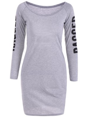 Back Cutout Graphic Bodycon Dress - Gray L
