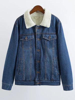 Lamb Wool Denim Jacket - Deep Blue L