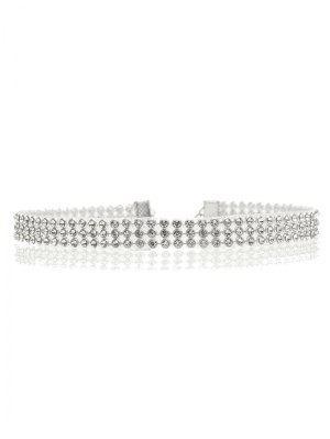 Rhinestone Embellished Necklace - Silver