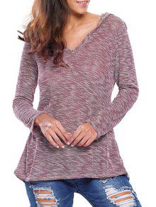 Heathered Hooded Knitwear - Plum L