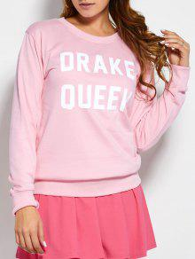 Crew Neck Sweatshirt With Text - Pink M