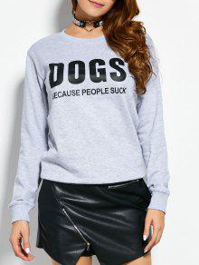 Letter Dogs Graphic Sweatshirt - Gray M