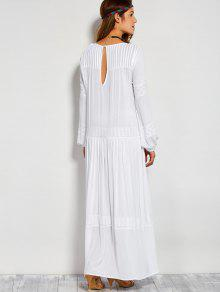 f3d2ad5bab5 35% OFF] 2019 Embroidered Long Sleeve Maxi Dress In WHITE | ZAFUL