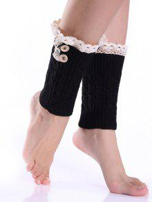 Buy Lace Button Cable Knitted Boot Cuffs - BLACK