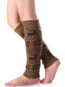 Buy Christmas Fawn Snowflake Knitted Leg Warmers - KHAKI