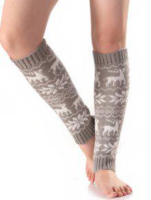Buy Christmas Fawn Snowflake Knitted Leg Warmers - LIGHT GRAY