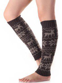 Buy Christmas Fawn Snowflake Knitted Leg Warmers - DEEP GRAY