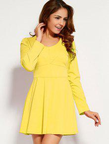 Long Sleeve V Neck Skater Dress YELLOW: Long Sleeve Dresses M | ZAFUL