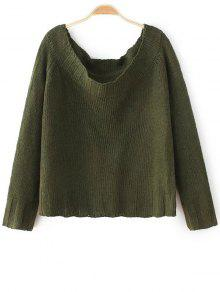 Off The Shoulder Cropped Sweater - Army Green