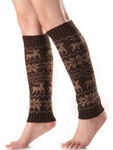Buy Christmas Fawn Snowflake Knitted Leg Warmers - COFFEE
