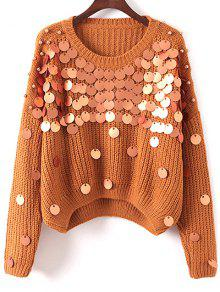 Sequined Chunky Sweater - Khaki