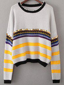 Sequined Beading Sweater - Light Gray