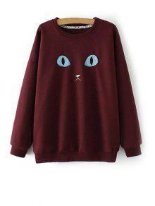 Eye Embroidered Crew Neck Sweatshirt - Wine Red Xl