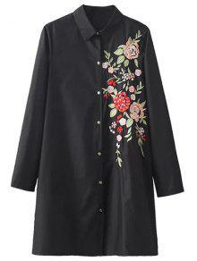زهرة مطرزة قميص اللباس - أسود M