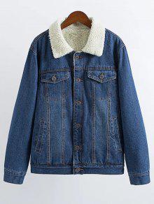 Lamb Wool Denim Jacket - Deep Blue L