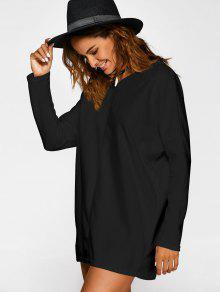 Pull Long Large à Col V Noir: Robes Pull XL | ZAFUL