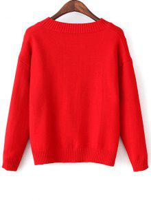 Slit Embroidered High-Low Sweater RED: Sweaters ONE SIZE   ZAFUL