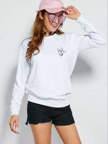 Gesture Graphic Pullover Sweatshirt WHITE: Sweatshirts L | ZAFUL