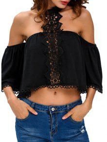 Cropped Choker Off The Shoulder Blouse Belly Shirts - Black S