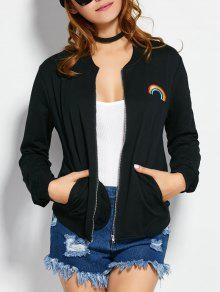 Zip Up Rainbow Bomber Jacket - Black L