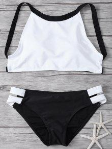 High Neck Padded Color Block Bikini Bathing Suit - White And Black L