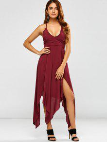 Low Cut Strappy Maxi Hankerchief Dress - Wine Red S