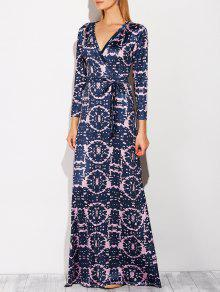 Plunging Neck Tie-Dyed Maxi Dress - Purplish Blue Xl