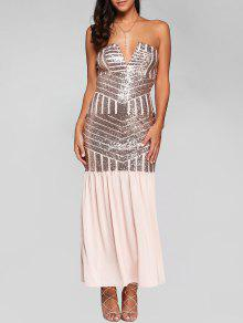 Sparkly Sequins Bandeau Prom Dress - Pink M