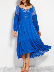 Vestido Maximo Bordado Retro Del Cordón - Azul M