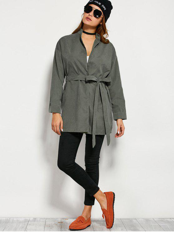 lady Belted Wrap Trench Coat - ARMY GREEN L