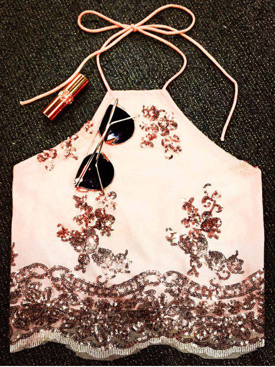 women Lace Up Sequins Backless Crop Top - NUDE S