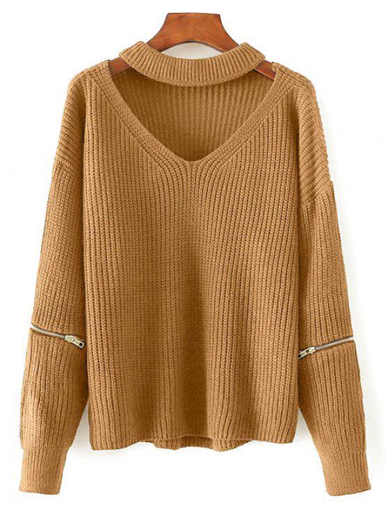 women's Cut Out Chunky Choker Sweater - EARTHY ONE SIZE