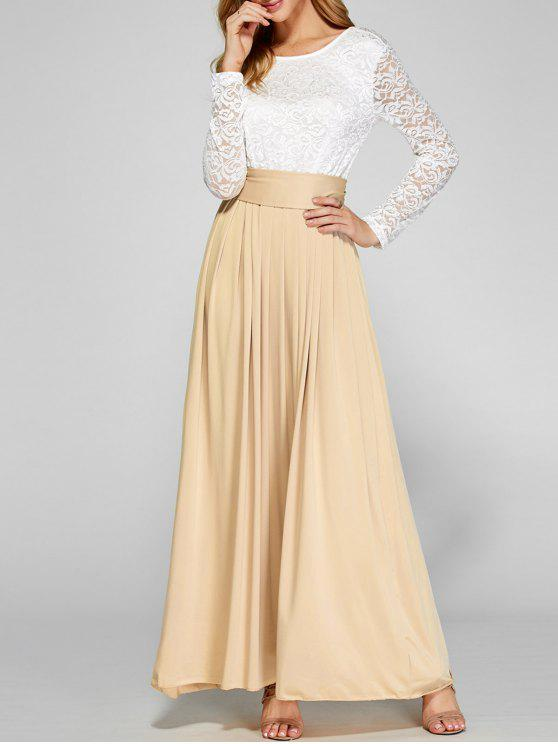 a539389f1fdc 34% OFF] 2019 Lace Panel Maxi Evening Long Sleeve Dress In APRICOT ...