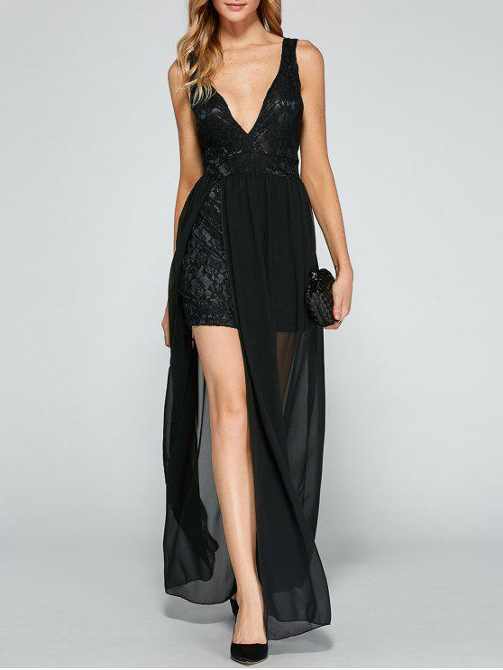 Vestido Noche Chifón y Encaje - Negro XL