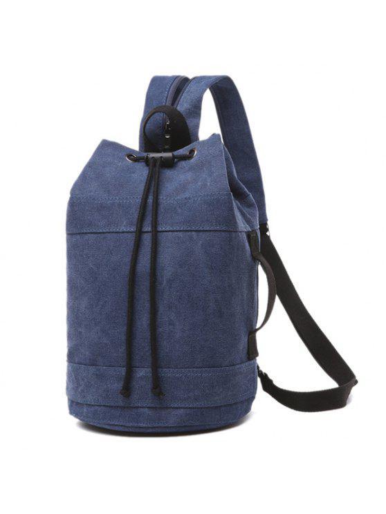 حقيبة الظهر بسحاب بقماش كتاني - ازرق غامق