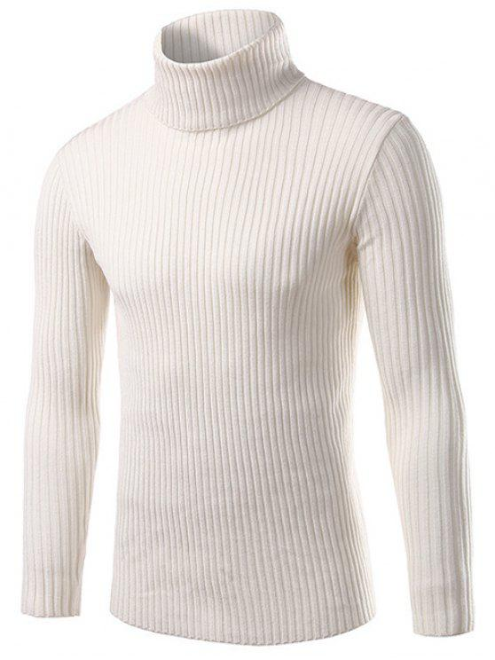 chic Slim Fit Roll Neck Ribbed Knitted Sweater - WHITE M