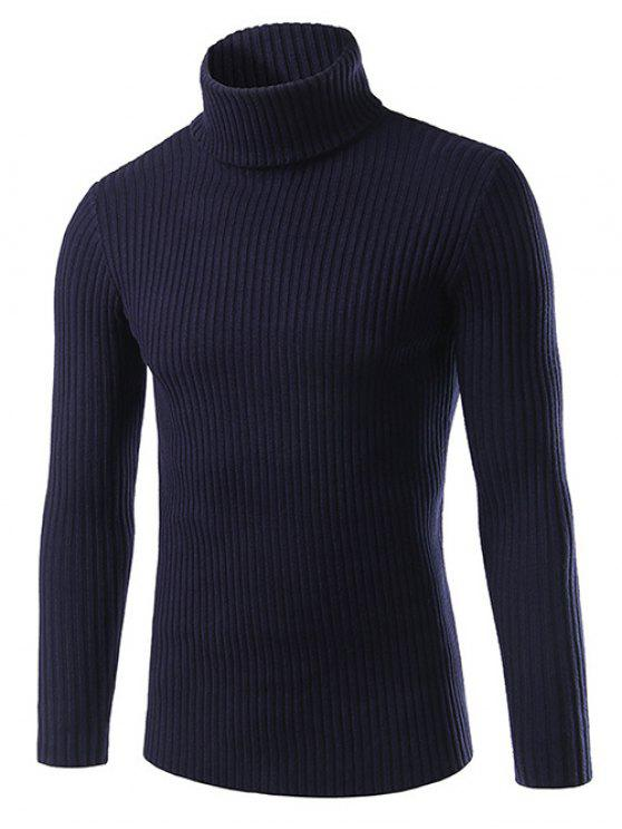 ladies Slim Fit Roll Neck Ribbed Knitted Sweater - CADETBLUE 2XL