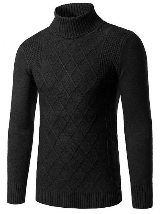 latest Slim Fit Roll Neck Rhombus Pattern Sweater - BLACK L