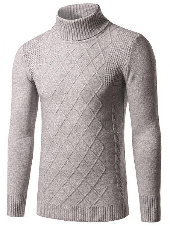 Maglione modello slim fit a collo Rhombus - Grigio XL