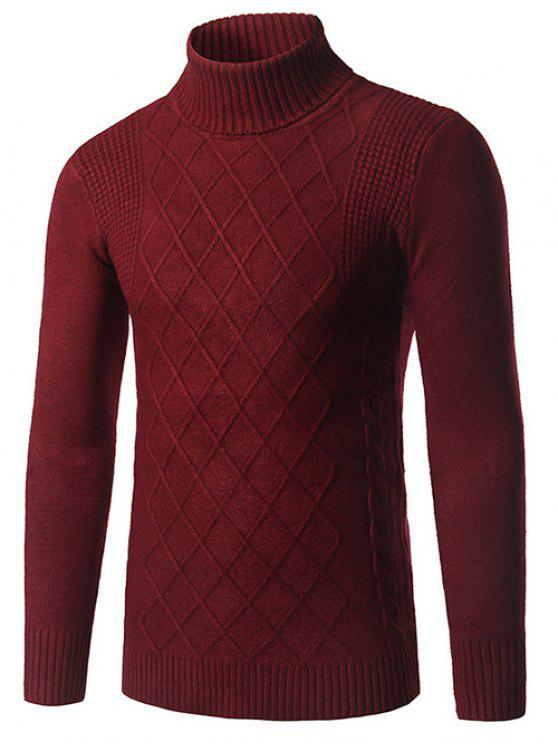 Maglione modello slim fit a collo Rhombus - Borgogna XL