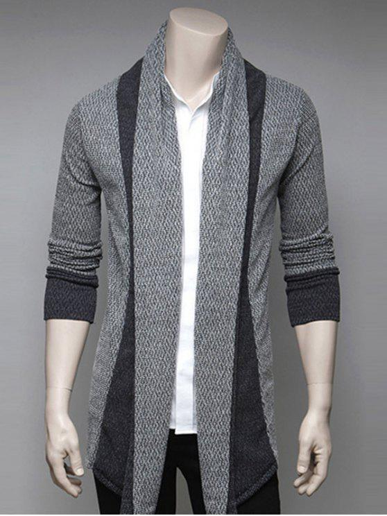 Farbblock Spleißen Umlegekragen Strickjacke - Hellgrau XL