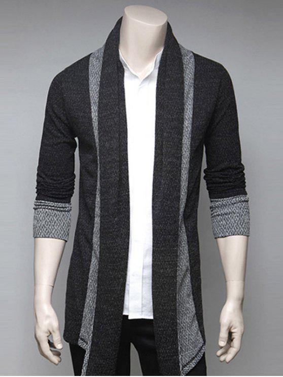 Farbblock Spleißen Umlegekragen Strickjacke - Dunkelgrau L