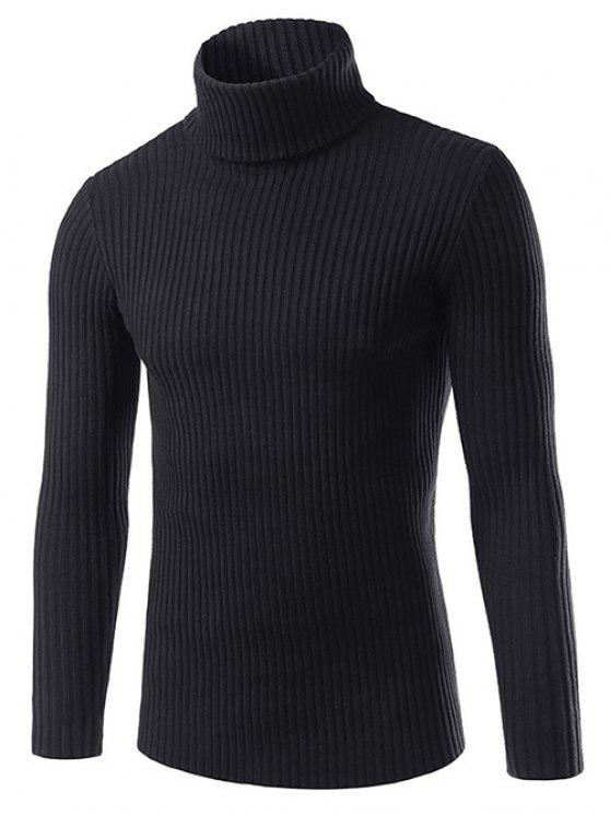 fancy Slim Fit Roll Neck Ribbed Knitted Sweater - BLACK 3XL