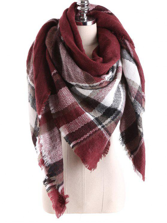 sale Tartan Plaid Blanket Shawl Scarf - BURGUNDY