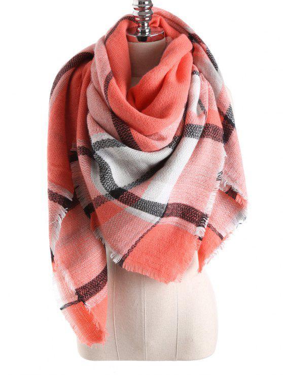 womens Tartan Plaid Blanket Shawl Scarf - ORANGEPINK
