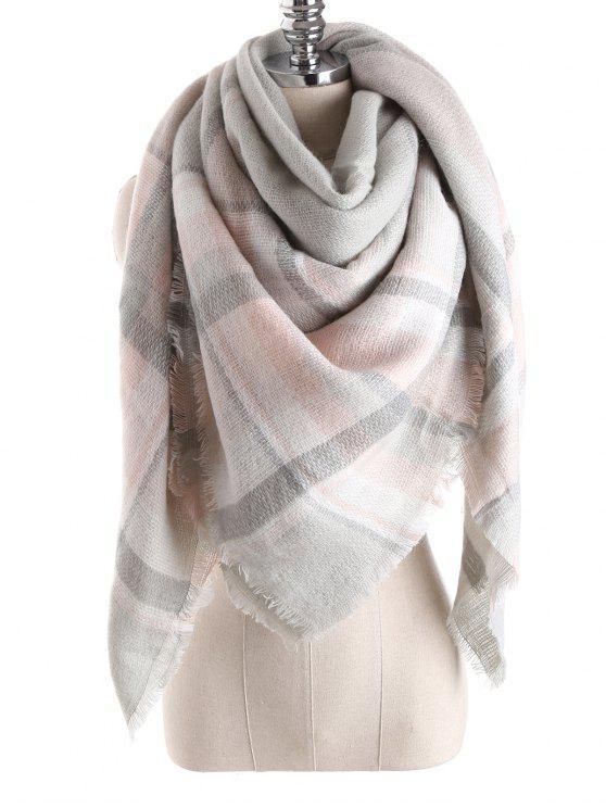 Manta de la tela escocesa de la bufanda del mantón - Gris Claro